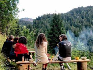 campfire chatting yoga retreat